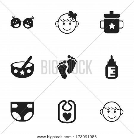 Set Of 9 Editable  Icons. Includes Symbols Such As Nappy, Spoon, Merry Children And More. Can Be Used For Web, Mobile, UI And Infographic Design.