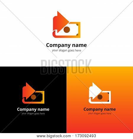 Money, finance, transfer converter logo design. Creative symbol template for banking or investment business with trend orange-yellow gradient color. Dollar with arrow icon design.