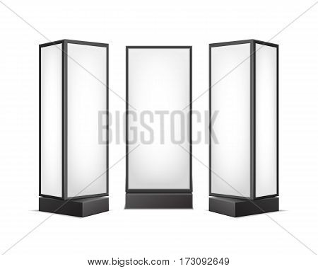 Vector Black White Luminous Rectangular Poster Stands Pillars for Indoor Advertising Front Side View Isolated on Background
