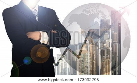 Double Exposure Of Businessman Arms Crossed And Stand Up With Cityscape And Financial Graph And Worl
