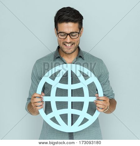 A man holding global community sign