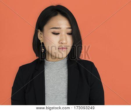 Asian Business Woman Unhappy Studio