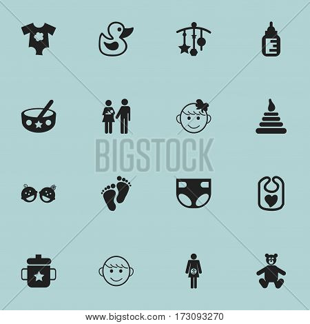 Set Of 16 Editable Child Icons. Includes Symbols Such As Tower, Nappy, Lineage And More. Can Be Used For Web, Mobile, UI And Infographic Design.