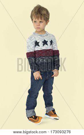 Caucasian Little Boy Cool Candid Studio