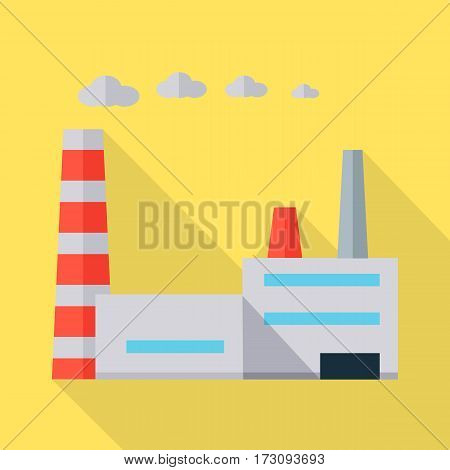 Factory vector illustration in flat style. Plant picture for ecological, business conceptual banners, web, app, icons, infographics, logotype design. Isolated on orange background.