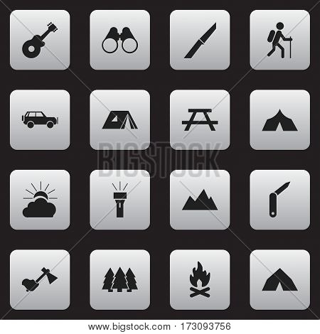 Set Of 16 Editable Travel Icons. Includes Symbols Such As Refuge, Sport Vehicle, Desk And More. Can Be Used For Web, Mobile, UI And Infographic Design.