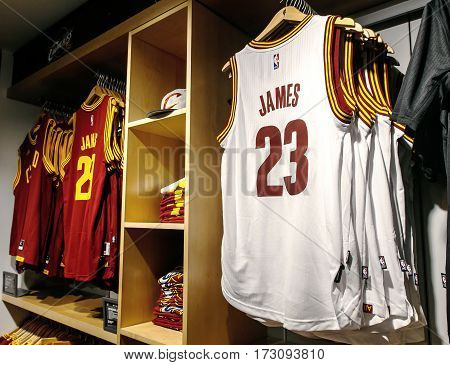 New York February 21 2017: Replica jerseys of LeBron James of Cleveland Cavaliers on sale in the NBA store in Manhattan.