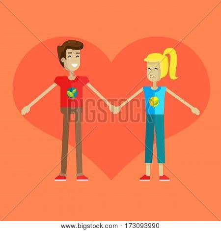 Happy boy and girl holding hands on the background of heart. Cute couple in love holding hands. First love. Smiling young personages on orange background. Vector illustration in flat.