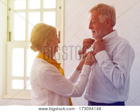 Photo Gradient Style with Senior Couple Help Together Dress Up