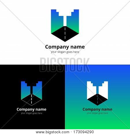 City, town, buildings, industrial symbol in the letter U. Logo, icon, sign, emblem vector template. Abstract symbol and button with blue-green gradient for business, buildings, town firm or company.