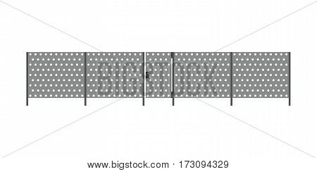 Metal perforated fence with gate in flat style.