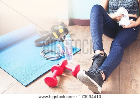 Active woman in sport fitness Healthy lifestyle concept