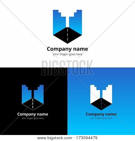 City, town, buildings, industrial symbol in the letter U. Logo, icon, sign, emblem vector template. Abstract symbol and button with light blue gradient for business, buildings, town firm or company.