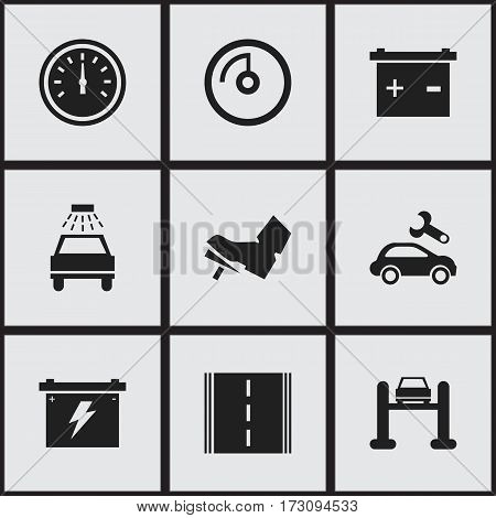 Set Of 9 Editable Transport Icons. Includes Symbols Such As Highway, Battery, Speed Control And More. Can Be Used For Web, Mobile, UI And Infographic Design.