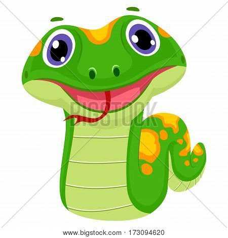 Vector Illustration of a Cute Snake Smiling