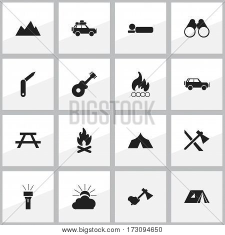 Set Of 16 Editable Travel Icons. Includes Symbols Such As Ax, Clasp-Knife, Musical Instrument And More. Can Be Used For Web, Mobile, UI And Infographic Design.