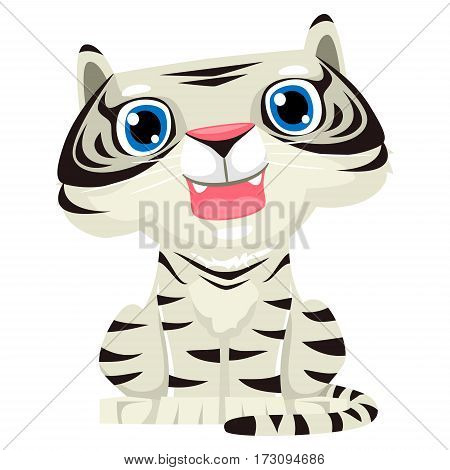Vector Illustration of a One Cute White Tiger Cartoon