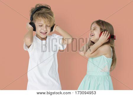 Little Children Headphones Enjoying Smiling