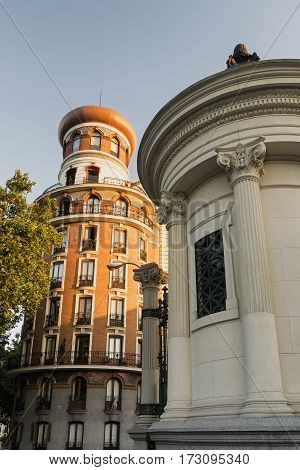 Madrid (Spain): exterior of historic buildings near the Park of Buen Retiro
