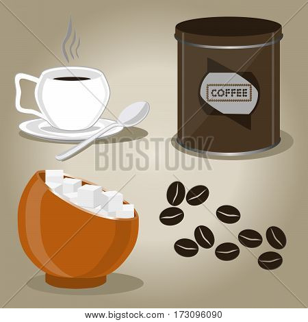 Vector illustration of logo for set coffee cups seeds on background.Coffee drawing consisting of cup hot liquid sweet sugar in bowl porcelain mug with a spoon turk caffeine.Drink coffees in grains