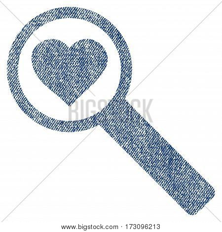 Find Love vector textured icon for overlay watermark stamps. Blue jeans fabric vectorized texture. Symbol with unclean design. Blue ink rubber seal stamp with fiber textile structure.