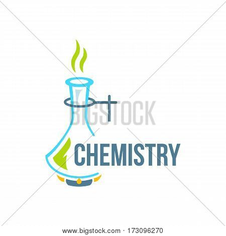 Chemical test tubes icon illustration . Chemistry. The set of chemical icons. Flat style. illustration.