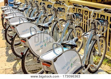 Pittsburgh Pennsylvania USA - July 31 2016: A row of Healthy Ride rental bicycles lined up on the street.