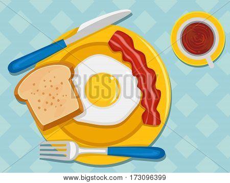 Vector Illustration of Breakfast in Table Set