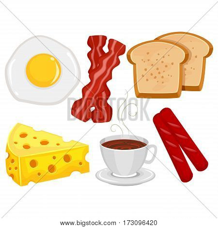 Vector Illustration of Different kinds of Breakfast Food Elements