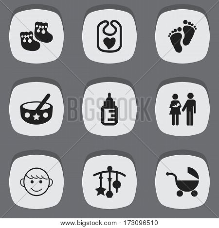 Set Of 9 Editable Infant Icons. Includes Symbols Such As Shoes For Babies, Pinafore, Nursing Bottle And More. Can Be Used For Web, Mobile, UI And Infographic Design.