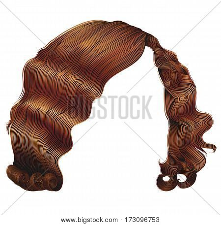 trendy woman hairs  kare red colors . beauty fashion .  retro style curls .   realistic 3d .