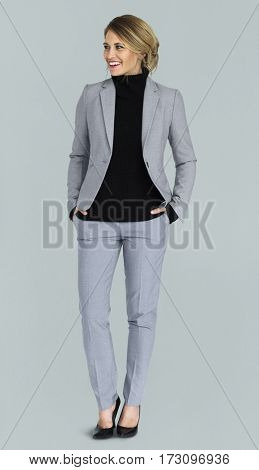 Caucasian Business Lady Cheerful Studio Concept