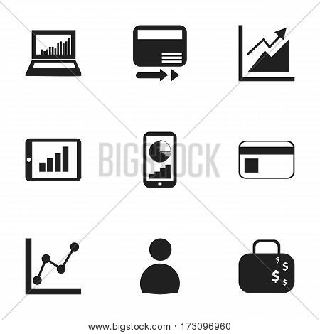 Set Of 9 Editable Statistic Icons. Includes Symbols Such As Bar Chart, Progress, Cash Briefcase And More. Can Be Used For Web, Mobile, UI And Infographic Design.