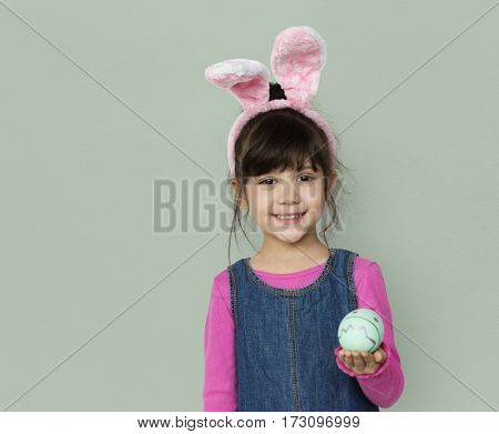 Girl Smiling Easter Holiday Concept