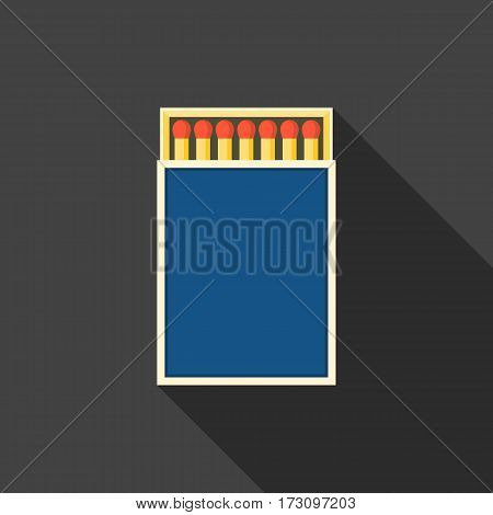 match box and matches icon, flat design with long shadow