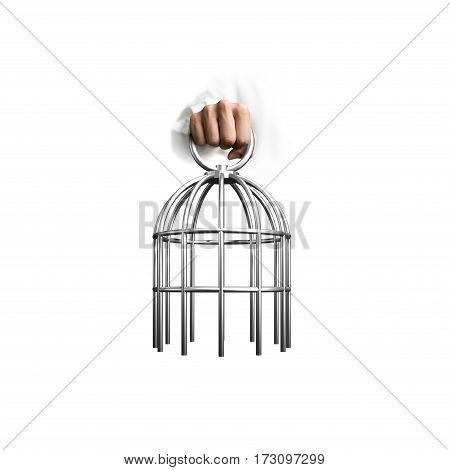 Hand Holding The Cage