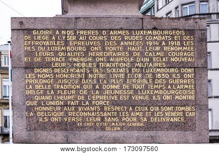 Grand Duchy of Luxembourg Luxembourg- January 032017: Monument residentswho fell in the First and Second World Wars. At the top is the