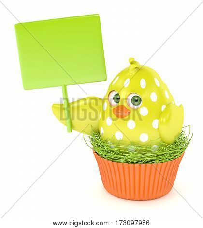 3D Render Of Easter Chick In Muffin Nest Holding Board