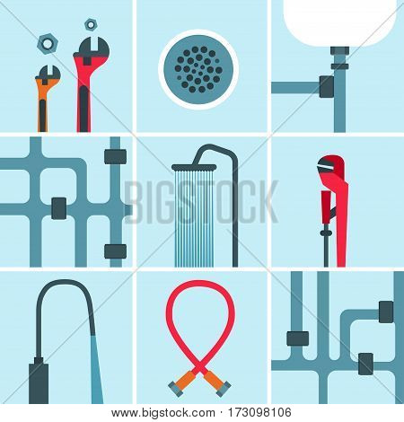 Set of multicolored icons of plumbing works and tools on light-blue background Flat design