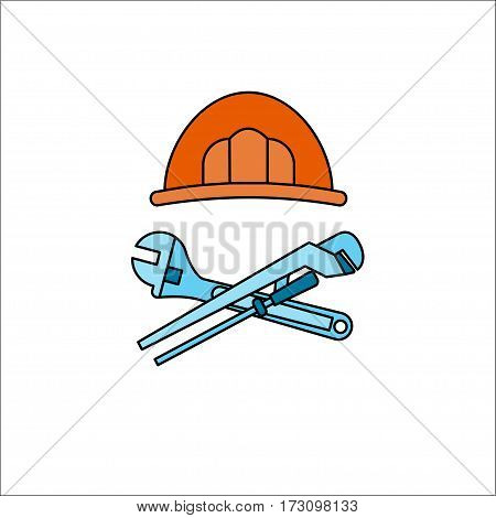 Plumber's helmet and adjustable wrench crossed with pipe wrench on white background Thin line