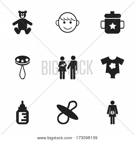 Set Of 9 Editable Infant Icons. Includes Symbols Such As Merry Children, Small Dresses, Goplet And More. Can Be Used For Web, Mobile, UI And Infographic Design.