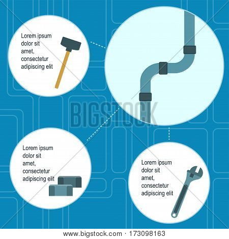 Poster template of plumbing works and tools on blue background with tap scheme Flat design