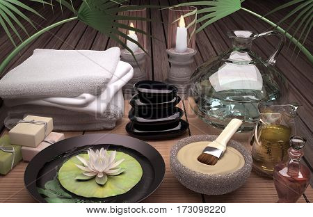 Spa still life with burning candles clay mask and flower of an water Lily on wooden background. 3D illustration