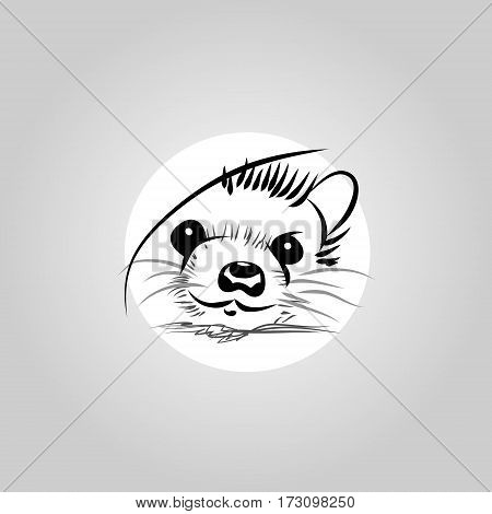 The hedgehog lines on a white background the logo. Vector illustration