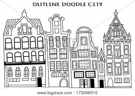 Outline doodle city buildings VECTOR illustration art