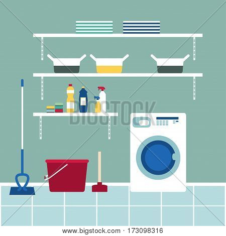 Cleaning equipment Vector illustration Washing equipment, cleaning equipment and household chemicals in the bathroom Flat design