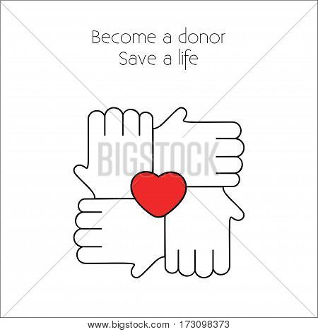 Blood donation Vector illustration Four white hands linked in the lock with red heart between them on white background Poster template for blood donation community Thin line