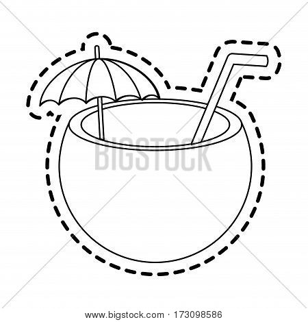 tropical coconut cocktail icon image vector illustration design