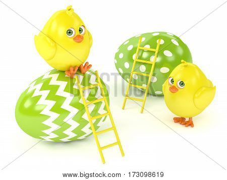 3D Render Of Easter Chicks With Painted Eggs