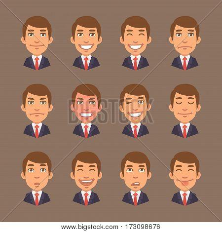 Vector Illustration, Set Emotions Businessman, Format EPS 10